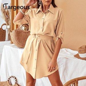 Fargeous Элегантный твердые сатин женщин рубашка платье Vintage шелк с длинными рукавами платья офис леди осень высокой талии зашнуровать платье