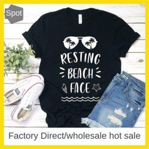 RESTING-는 BEACH 얼굴 여성 캐주얼 편지 반소매 T 셔츠 기본 상단 RESTING-는 BEACH 얼굴 여성 캐주얼 편지 반소매 T 셔츠 기본