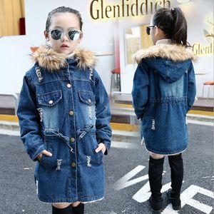Baby Girls Designer Clothes Fur Collar Girl Hooded Jackets Winter Denim Jacket Plus Velvet Children Coats Kids Clothing BT4730