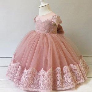 2020 Blush Pink Lace Цветочница Платья чай Длина Тюль Маленькая девочка Свадебные платья Дешевые причастия Pageant платья Платья F3176