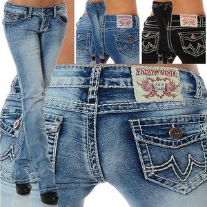 2020 нового стрейч эластичных женщины мода джинсы тощего карандаш случайных джинсы Женщина тонкий подходят средние брюки талия денима