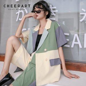 CHEERART Colorblock Summer Blazer Women Double Breasted Short Sleeve Blazer Fashion Designer Coats And Jackets 2020 Korean