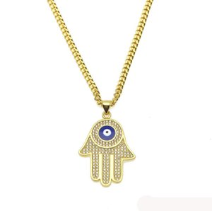 Blue Evil Eye Pendant Necklaces Hamsa Hand Of Fatima Charm Long Cuban Chains For Women&men Hip Hop Fashion Jewelry