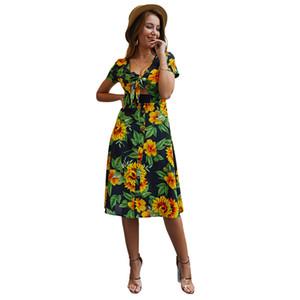 Özgün Tasarım Kadın Yaz 2020 Yeni Baskılı Çiçek Seksi Bandaj Oversize Elbise