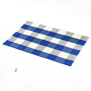 Las alfombras de algodón a cuadros Felpudo Alfombras tartán Buffalo a cuadros en capas puerta Mats al aire libre para porche frontal Entrada de forma Cocina Baño EEA1352-7