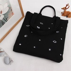 Foldable Canvas Bag Women Girl Portable Reusable Solid Color Tote Casual Shopping Bag Single Shoulder Bags Bolsa Feminina