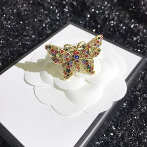 European and American fashion new color diamond butterfly ring