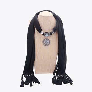 2019 Новый Высокое Качество Полиэстер Шарф Ожерелье для дам ювелирные изделия Заявление Смола аксессуары кулон шарф Подарок на складе