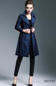 NEW 2018! WOMEN FASHION ENGLAND X-LONG COTTON TRENCH COAT HIGH QUALITY BRAND DESIGNER SLIM BELTED LONG TRENCH FOR WOMEN B6830F330 S-XXL