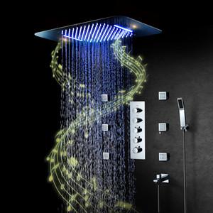 Fluxo da música LED Showerheads Big Water Chuva torneira misturadora termostática jactos de massagem Banho Rain Shower Set Sistema de Chuveiro