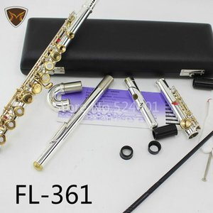 FL-361 Standards High Quality 16 17 Holes C Key Open Closed Hole Flute Silver Plated Body Gold Lacquer Key Flutes Free Shipping