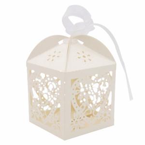 10Pcs / установить выдалбливают Candy Box ленточками Love Heart Pattern Baby Shower одолжений Подарки День Рождения Свадебные украшения