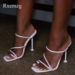 Rxemzg women slippers summer outdoor flip flops women square toe high heels slippers shoes woman sexy snake print ladies sandals Y200423