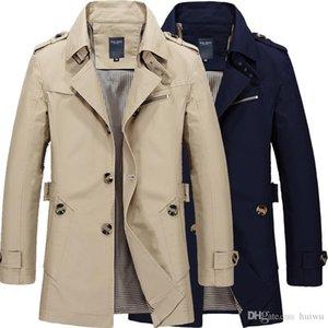 Kostenloser Versand Männer reine Farben-reiner Baumwolle Lange Jacken Mode Herren Upscale Winter-dünne passende beiläufige Trenchcoat