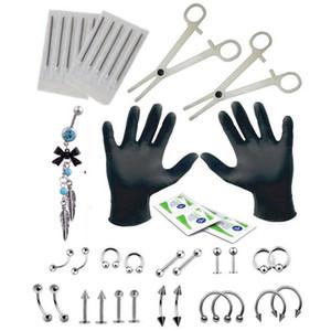 Piercing Setleri Takı Sanat İçin Komple Piercing Kit İğne Forseps Dil Kaş Burun Dudak Göbek Ring Piercing Seti Araçları
