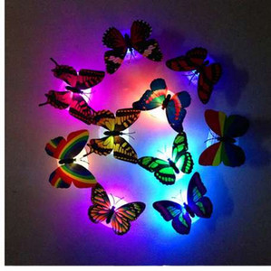 Home Creative Night Lights Colorful Changing Butterfly LED Night Light Lamp Home Room Party Desk Wall Decor Kids Bedroom Decals