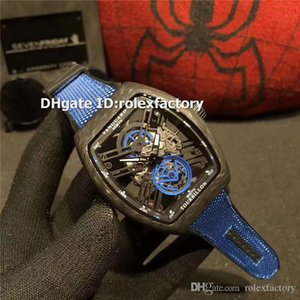 Üst Vanguard V45 S6 SQT KARBON Mavi Aydınlık Erkek İzle İsviçre Otomatik Siyah Karbon Fiber Openworked Dial Tasarımcı Saatler 3 Renkler