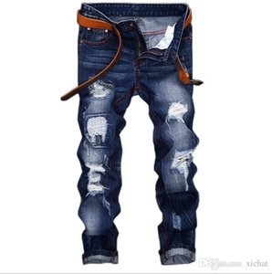 Unique Mens Distressed Ripped Straight Leg Jeans Fashion Designer Retro Washed Embroidery Bleached Streetwear Denim Pants JB164-1