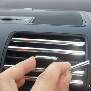 6 1M U Shape DIY Car-styling Interior Air Vent Grille Switch Rim Trim Outlet Decoration Strip Moulding Chrome Silver Accessories