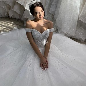 Luxury Pearls Beaded Princess Ball Gowns Wedding Dresses Off The Shoulder Lace-Up Back Court Train Mariage Gowns abiti da sposa