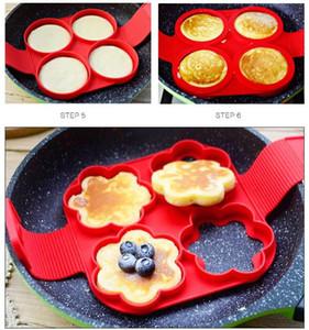Pancake Silicone Mould quatre formes différentes Pancake Maker oeufs anneau fabricant de moules de cuisson ensemble de cuisine