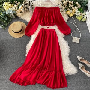 OCEANLOVE Beach Style Two Piece Set Women 2020 Summer Solid Ropa Mujer Sexy Off Shoulder Tops+ Long Skirts 2 Piece Set 13999 CX200702