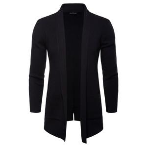 Frühling Herbst Herren Open Stitch Solide Stehkragen Langarm Oberbekleidung Casual Mäntel Mode Strick Mit Tasche Männer Jacken