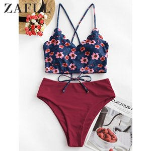 ZAFUL Floral Scalloped Crisscross Tankini Swimsuit High Waisted Flower Mix And Match Strap Set Crop Top Elastic Two-Piece Suits MX200613