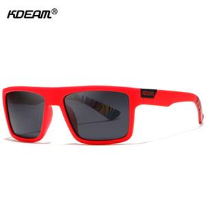 KDEAM مستقيم ذائع الصيت مستطيل المستقطبة رجال العلامة التجارية التوقيع نظارات شمسية الرياضة ظلال يشمل حالة وقائية