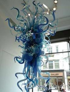 Современные лампы украшения дома люстры маленький лампа синий цвет светодиодные светильники источник руки вручить стекло искусства люстры