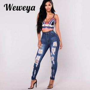 Weweya Femme Broderie Jeans Maigre Vintage Jean Déchiré Élastique Push Up Crayon Plus La Taille 3XL Denim Pantalon Mujer