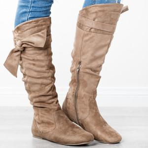 Stivali Donna New Fashion Autunno Inverno signore arco capo rotondo piatto tallone Zapatos De Stivali donna Stivali Casual yuj7 Botas Mujer