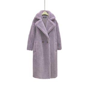 Monmoira Rosa Langer Teddy Mantel Frauen Winter Warme Frauen Faux Pelzmantel Damen 8 Farben Teddy Jacke Damen Outdoor Mantel
