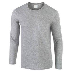 2019 Autunno Nuovo 100% cotone uomini della maglietta, ultra basso prezzo a maniche lunghe da uomo maglietta di alta qualità O-Collo puri degli amanti di colore Tshirt