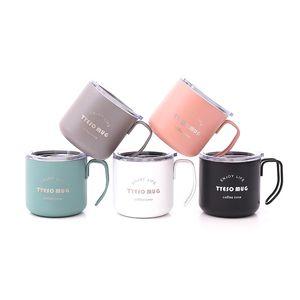 6 Farben Griff Kaffeetasse Edelstahl Cups Vakuum Thermo-Bier-Wein Cups Infant Tragbares Trinkwasserflasche CCA11715-A-50pcs