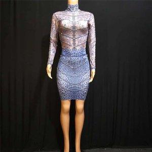 X05 Blue Leopard gedruckt sexy Sängerin Kleider durchführen trägt Hip Rock Diamanten Outfits Bar Bühnenkostüm Laufsteg Show Wear Pole Dance