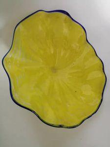 Sarı Çiçek Şekilli Cam Tabaklar El Üflemeli Cam Duvar Tabaklar Custom Made Murano Cam Duvar Sanatı