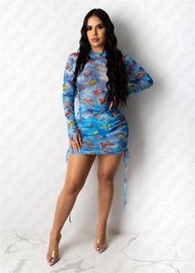 D41001 de vestir de manga larga vestidos de las mujeres señora Short manera de la falda transparente de malla Correa mariposa completa Impresión Vestido ajustado vestidos