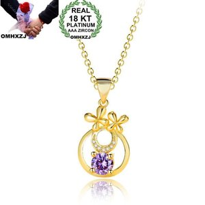 OMHXZJ Wholesale Personality Fashion Woman Girl Party Gift Gold Round Amethyst Zircon 18KT Gold Pendant Necklace NC137