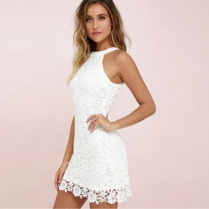 Womens Mini Dress White Elegant Wedding Party Sexy Night Club Halter Neck Sleeveless Sheath Bodycon Lace Dress