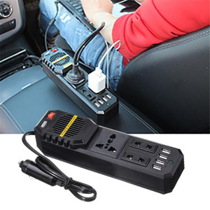 200W 자동차 인버터 자동 전원 인버터 DC 12V to AC 220V 4 USB 충전기 포트 전압 변환기 자동차 액세서리