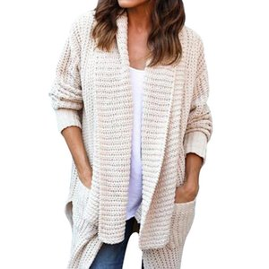 Moda Tricot Warm Jumper Sweater Ladies Knitted Pockets Sweater Mujeres Otoño Invierno Oversize Mangas Largas Cardigan Suéteres