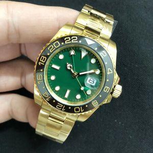 Nuevo estilo Ro automático 2813 Movimiento SUB Hombres Green reloj Dial Oro 18K Banda masculino reloj Monor Hemmo