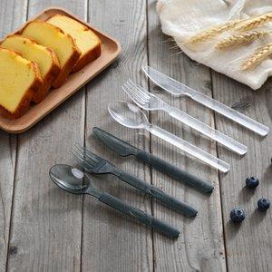 3pcs / set Vaisselle jetable transparent Western Set - de style Art de la table à usage unique en plastique transparent couteau fourchette cuillère Set 2style RRA2750