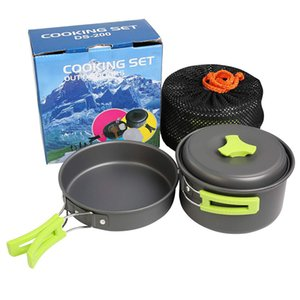 1 Set Outdoor Pots Pans Camping Cookware Picnic Cooking Set Non-stick Tableware With Spoon Fork Knife Kettle Cup for 4-5 Person