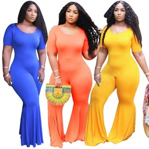 Plus Size Women Jumpsuit Short Sleeve Solid Color Rompers Casual Overalls Sexy BodySuit Summer Clothes XL-5XL Hot Sale Suspenders 3268
