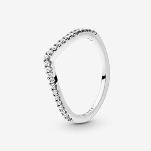 Nueva marca 100% 925 Sterling Silver Spilling Wishbone Anillo para las mujeres Anillos de compromiso de boda Joyería de moda Envío gratis