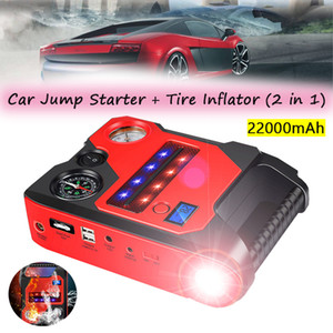 Tire Inflator Air Compressor+Car Jump Starter Power Bank 12V 22000mAh Universal Car Air Pump Tyre Compressor+Emergency Charger