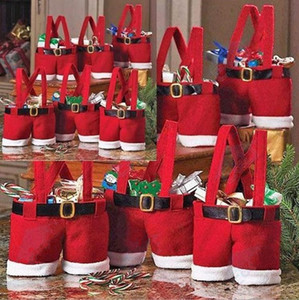 Merry Christmas Gift Treat Candy Wine Bottle Bag Santa Claus Suspender Pants Trousers Decor Christmas Gift Bags c090