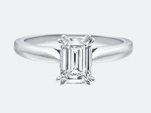 Clássico Esmeralda Corte Moissanite Diamante Único Ajuste de Pedra 9 K, 14 K, 18 K Ouro Branco Anel Certificado Para As Mulheres Com Um Certificado